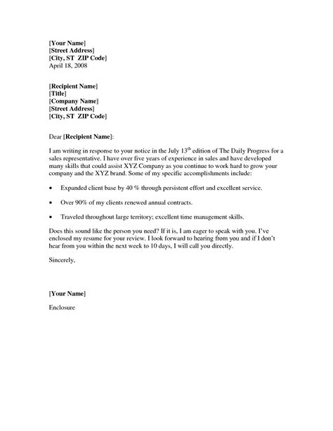 Basic Cover Letter Sle by Best Sales Representative Cover Letter Cover Letter For