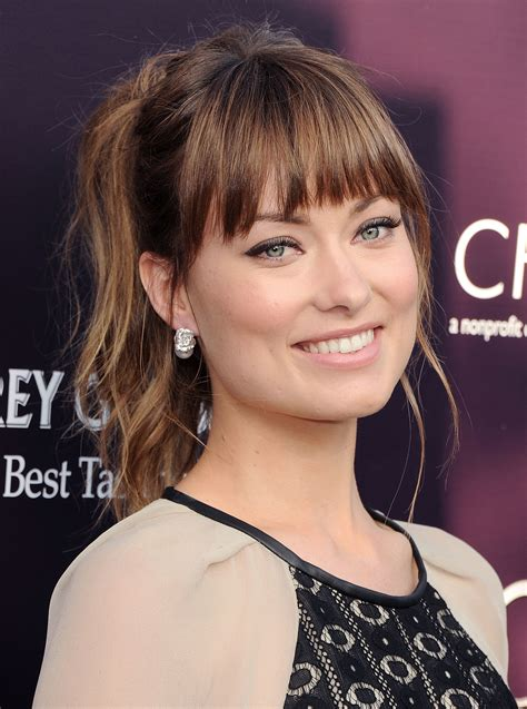 hair in pony tail with bangs june 2011 get a close up of olivia wilde s most jaw