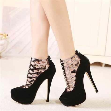 High Heells 14cm 2015 ultra high heels 14cm platform thin heels metal cutout single shoes mesh inwomen s