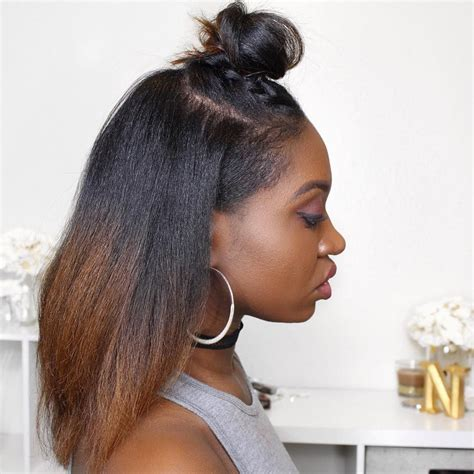 natural hairstyles for long straight hair natural hair straight top knot by instagrammer youtuber