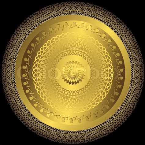 Indian Home Design Plans With Photos decorative gold round plate on black background vector