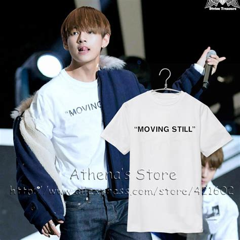 Tshirt Still Movin 2016 k pop bts v run born singer t shirts bts moving still t shirt kpop clothes t shirts