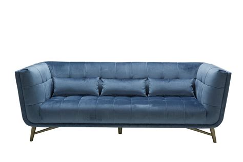 Blue Sofa Set Divani Casa Moraine Modern Blue Velour Sofa Set Modern