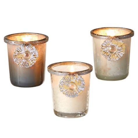 Votive Candle Holder Set Mercury Glass Votive Holder Set Of 3