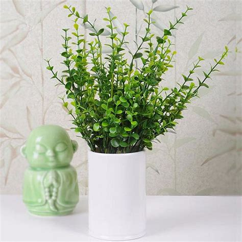 4 bunch artificial plastic small leaves plants plant
