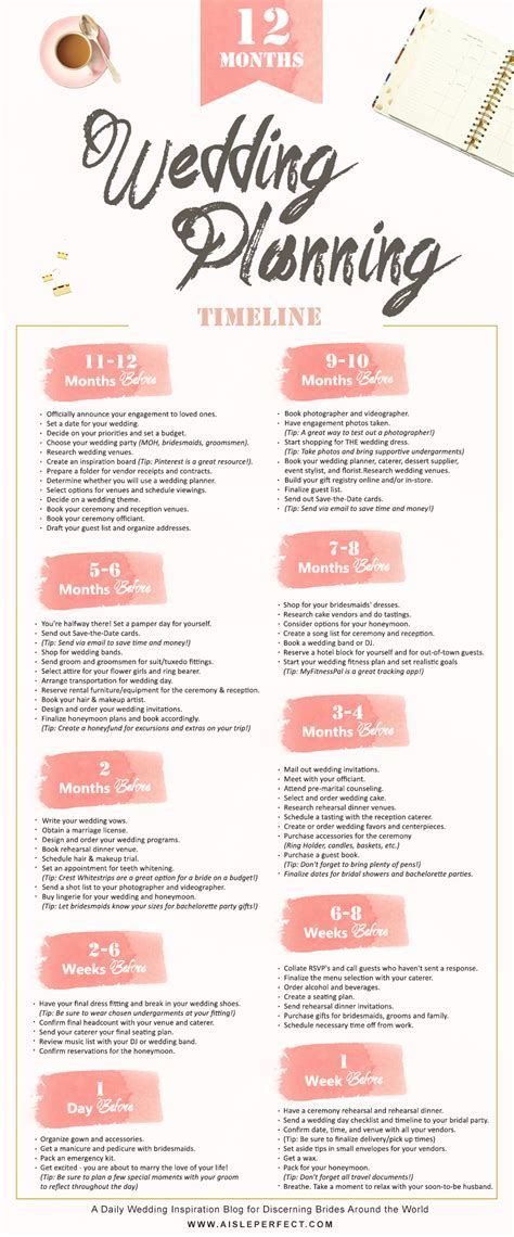 12 Month Wedding Planning Timeline   Wedding Planning Tips