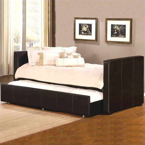 Leather Daybed With Trundle Marcella Leather Daybed With Trundle In Brown 1518dbt