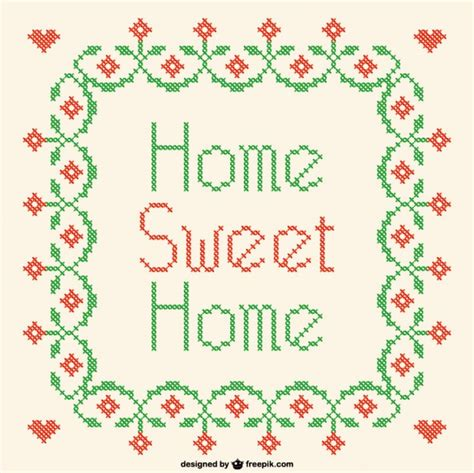 ai pattern cross home sweet home cross stitch vector vector free download