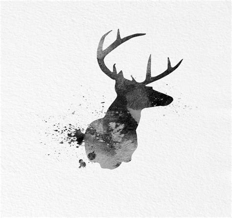 watercolor tattoo black and white gorgeous black watercolor deer silhouette design