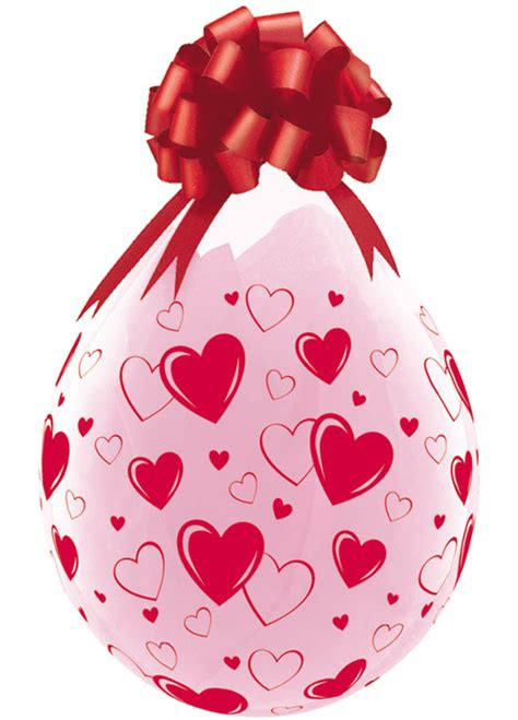 Qualatex 18 inch clear stuffing balloon red hearts a round print
