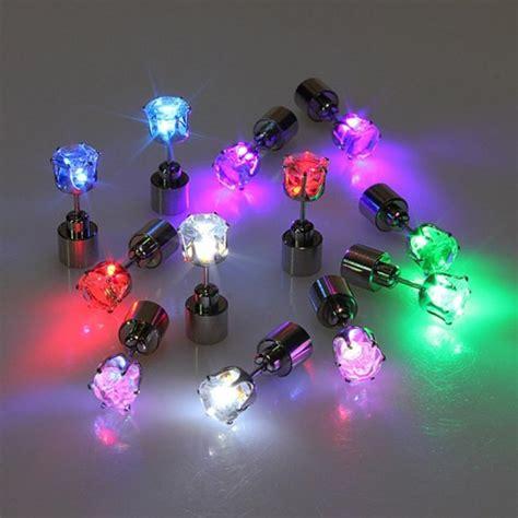 Light Up Glowing Cz Crystal Stud Earrings Gadgets Matrix Light Up Earrings