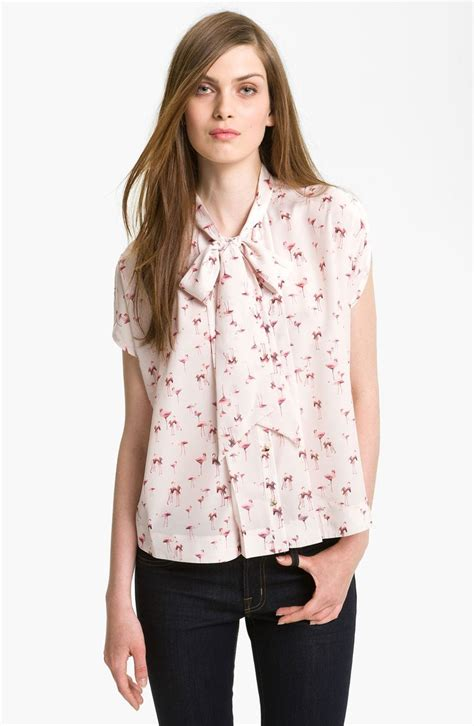Flaminggo Tunik Top Atasan Blouse flamingo print blouse collar blouses