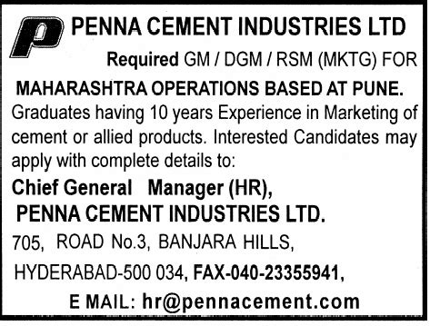 In Cement Industry For Mba Fresher by In Penna Cement Industries Limited Vacancies In