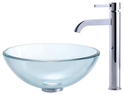 clear bathroom sink clear 14 in glass vessel sink ramus faucet chrome