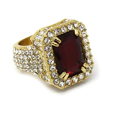 men s 14k gold plated hip hop iced ruby cz ring size