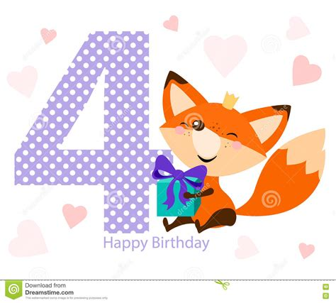 happy birthday card design vector illustration cute fox with bright gift happy birthday card design