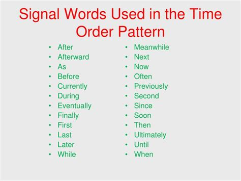 Pattern Of Organization Signal Words | ppt signal words patterns of organization powerpoint