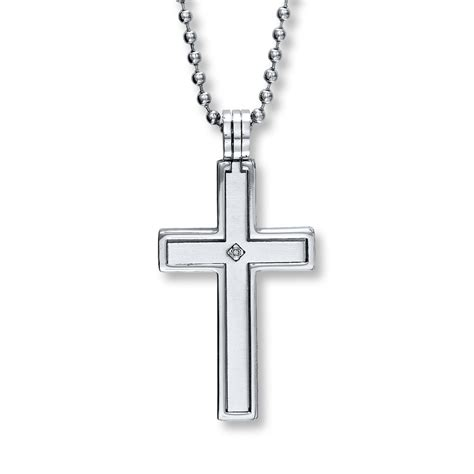 s cross necklace accent stainless steel