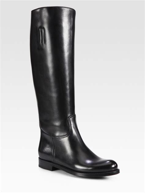 prada leather boots in black lyst