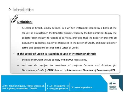 Introduction Letter Definition letter of credit lc presentation