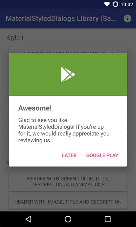 dialog android the android arsenal dialogs materialstyleddialogs