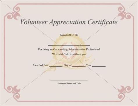volunteer appreciation certificate template volunteering is considered a activity by someone who has