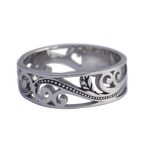 Steel Ring womens surgical stainless steel filigree ring