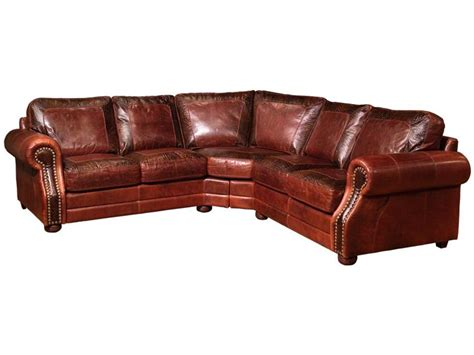 Legacy Leather Living Room Mason Sectional   Hickory