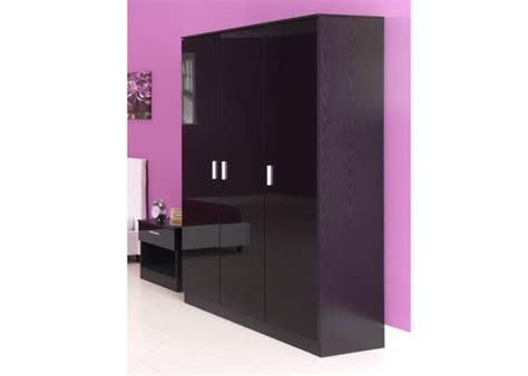 Black Gloss 3 Door Wardrobe by Gfw Ottawa 3 Door Wardrobe In Black Oak And Black Gloss By Gfw