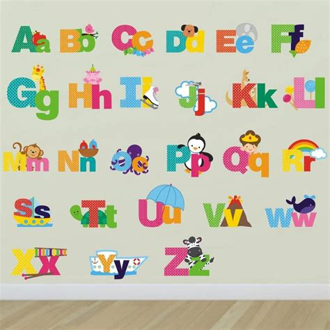 wall stickers alphabet letters picture alphabet wall stickers by mirrorin