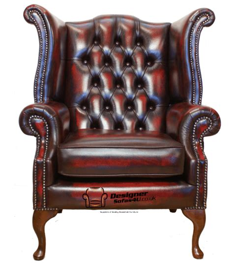 Chesterfield Wing Armchair by Chesterfield Armchair High Back Fireside Wing Chair Oxblood Leather Ebay