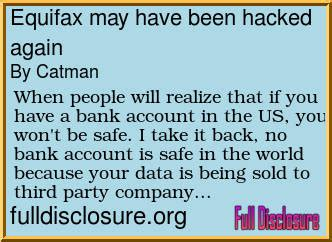 May Been Again by Forum Post Equifax May Been Hacked Again Disclosure