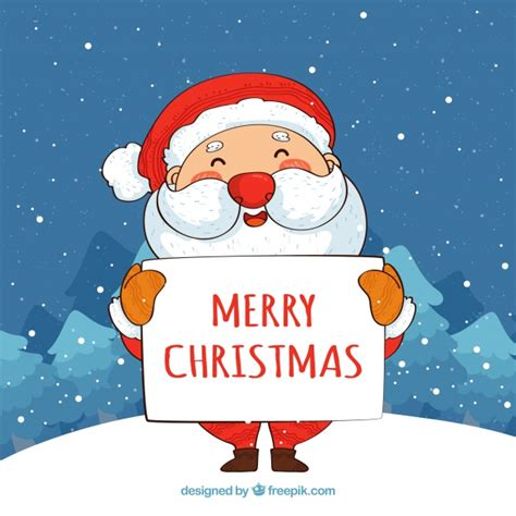 santa claus  merry christmas poster background vector