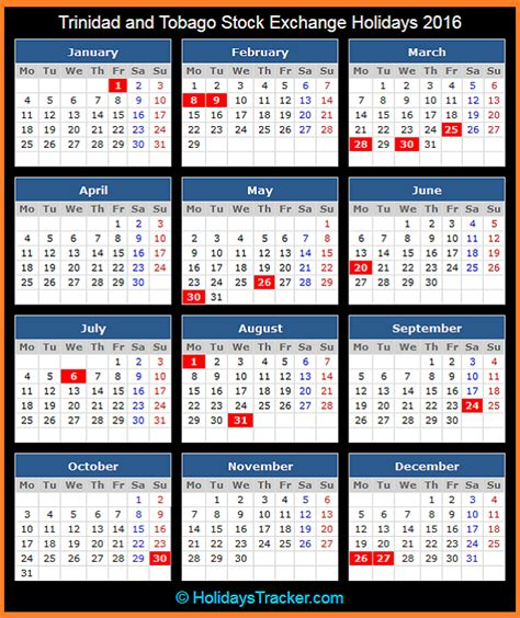 Printable Calendar 2016 Trinidad | trinidad and tobago stock exchange ttse holidays 2016