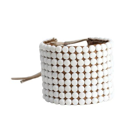 rounded beaded leather cuff sidai designs beaded