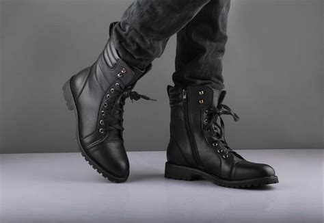 black mens boot black style boot combat boot winter