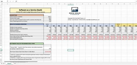 exle cash flow hedge saas excel financial model npv for a web business eloquens