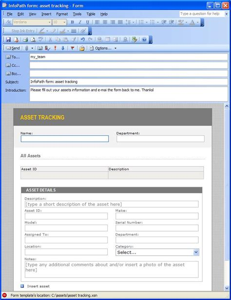 infopath form template using infopath e mail forms microsoft infopath 2010
