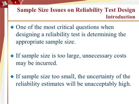 design criteria reliability sle size issues on reliability test design