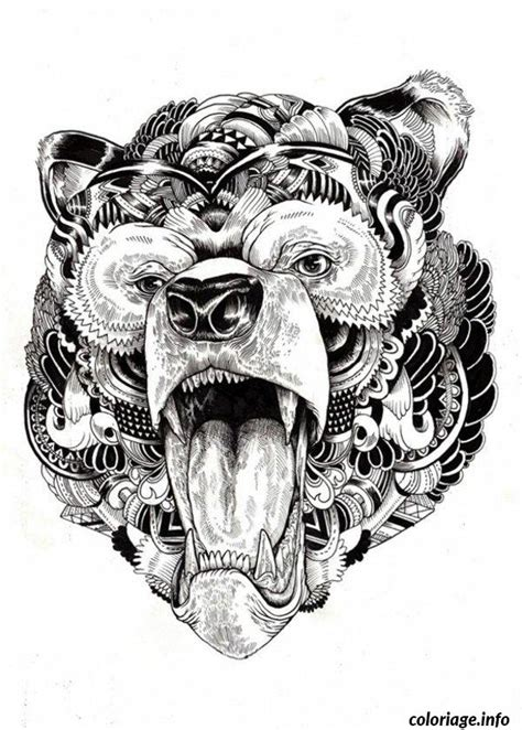pattern bear tattoo coloriage difficile adulte ours mandala dessin