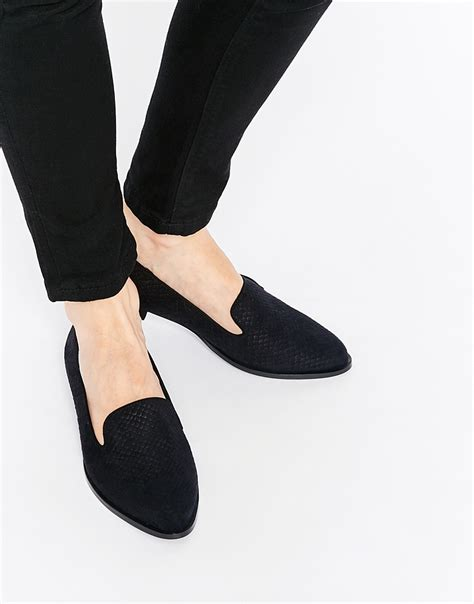 shoes flats black lyst faith alpine black embossed flat shoes black in black