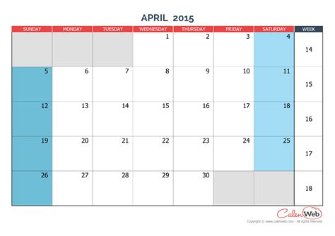printable monthly calendar april 2015 monthly calendar month of april 2015 the week starts on