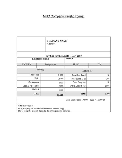 Top 5 Free Payslip Templates Word Templates Excel Templates Employee Payslip Template