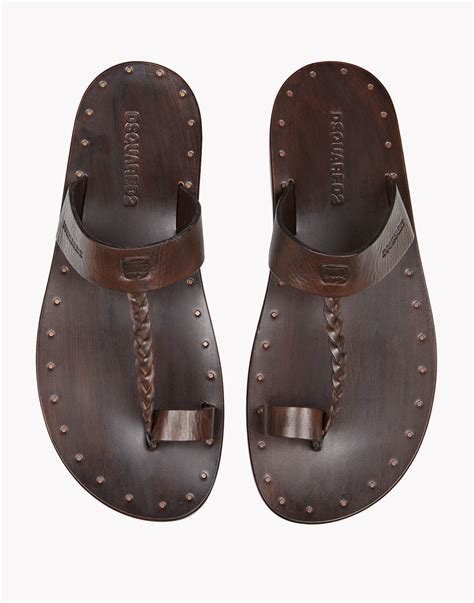 brown two sandals lyst dsquared 178 moses sandals in brown for