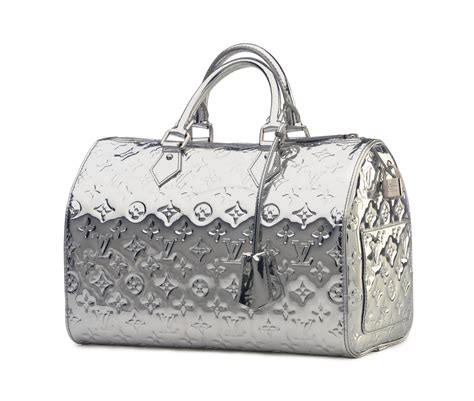 silver monogram vernis speedy mirror bag labeled