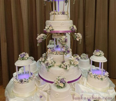 12 Tier Wedding Cake Structure with decorations and lights