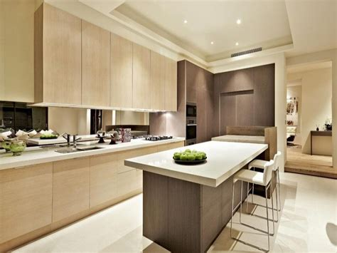 modern kitchen with island modern island kitchen design using wood panelling kitchen photo 240629