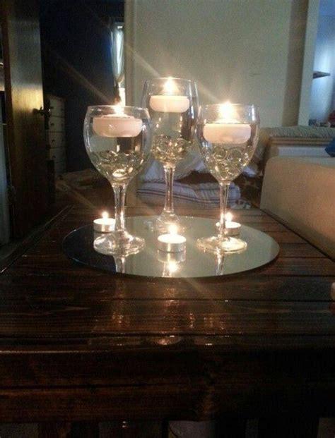 centro de mesa en copas de cristal y velas blancas m 225 s la