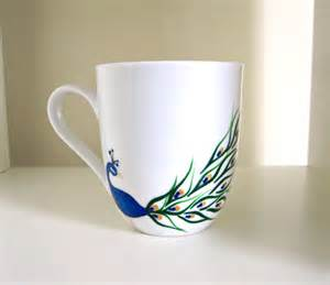 peacock mug peacock coffee cup hand painted porcelain mug by meku on etsy