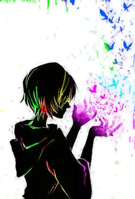 colorful anime anime boy colorful butterflys imagination emotions edit